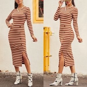VIVA | Stripped Side Buttoned Maxi Dress